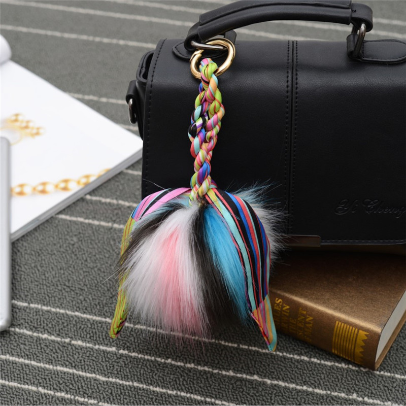Hot Sale Fur Pom Pom key chain Key Ring Bag car Charm Men Women Fur pom pom Plush Keycha ...