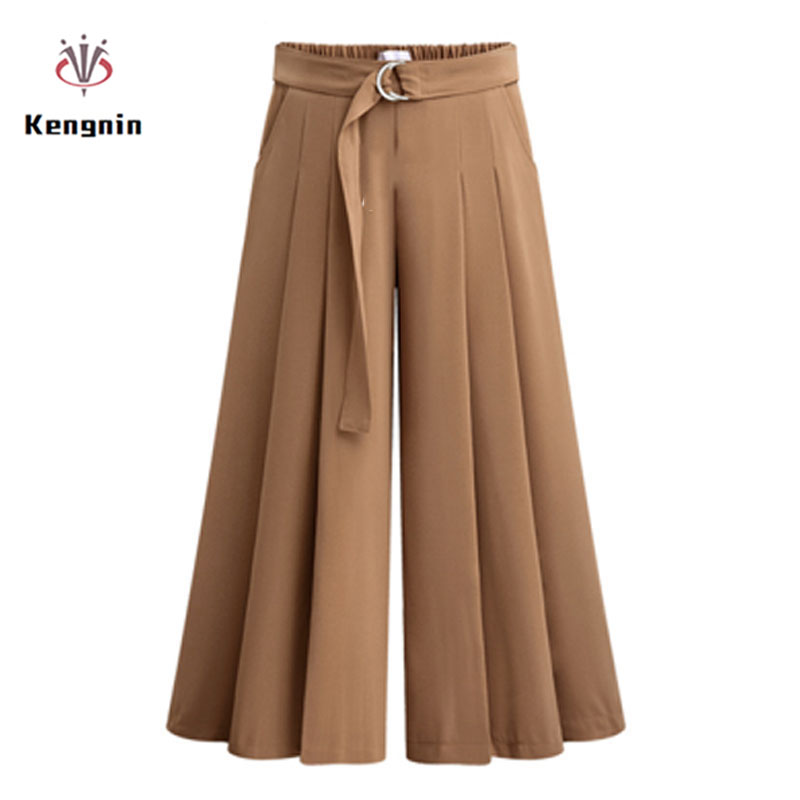 2019 New Arrival Summer European Style Casual Loose Women Wide Leg Pants Plus Size Drawstring Ladies Trousers Stretch Clothing