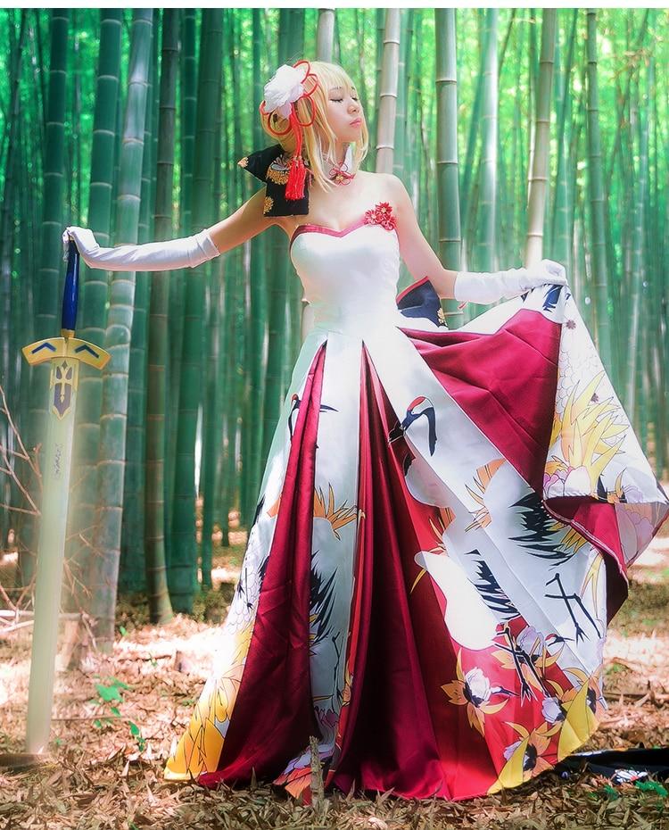 페이트 스테이 나이트 세이버 코스프레 의상 세이버 웨딩 드레스 여성을위한 할로윈 의상