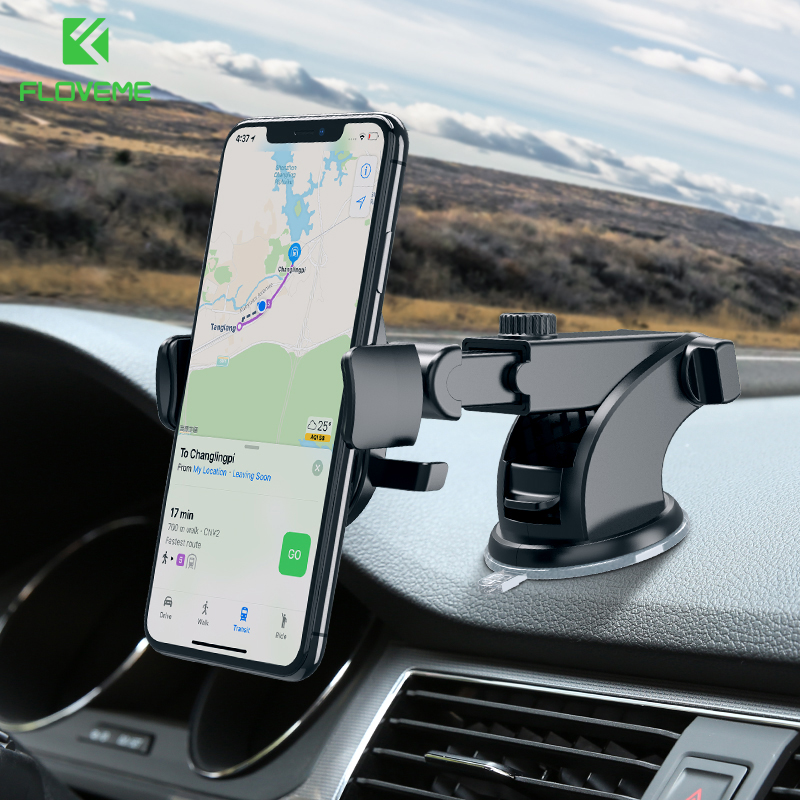 FLOVEME Windshield Car Phone Holder For iPhone 7 X XS Samsung 360 Dashboard Cell Phone Stand Holder in Car Mount telefon tutucu