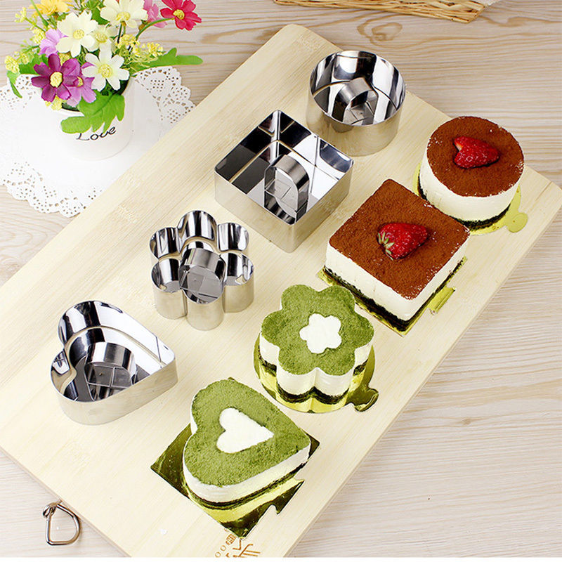 8*4cm 5 Different Stainless Steel Cake Molds for Cake Baking Tools Square, Circular, Triangle, Heart and Plum Shape