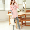 2016 fall maternity nursing pajamas cotton pregnant women nightwear cheap pregnancy breastfeeding nightgown top pants suit set