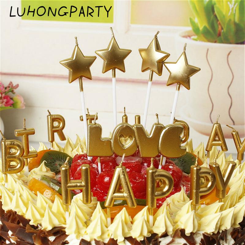 pack nuevo amor feliz cumpleaos torta vela decoracin del partido en casa de oro