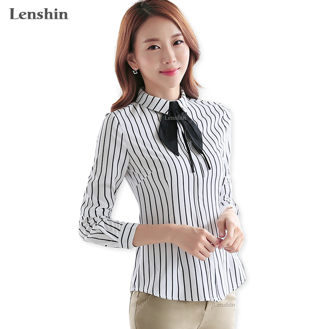 c42b6d3718 Lenshin Women Tie Blouses Office Lady Female Black And White Striped Shirt  Formal Autumn Wear Casual