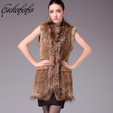 3983fef82e0 Enkofofo Medium Long Natural Real Rabbit Fur with Genuine Raccoon Fur Collar.  US  87.00   piece Free Shipping