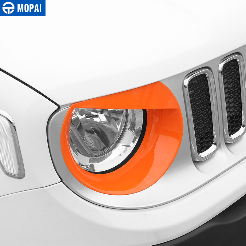Image 3 - MOPAI Car Front Head Light lamp Decoration Cover Stickers for Jeep Renegade 2015 Up ABS Exterior Car Accessories Styling-in Lamp Hoods from Automobiles & Motorcycles
