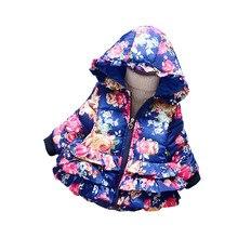 BibiCola winter girls jacket baby girls flower autumn winter warm parkas children girls thick warm jacket outerwear for girls
