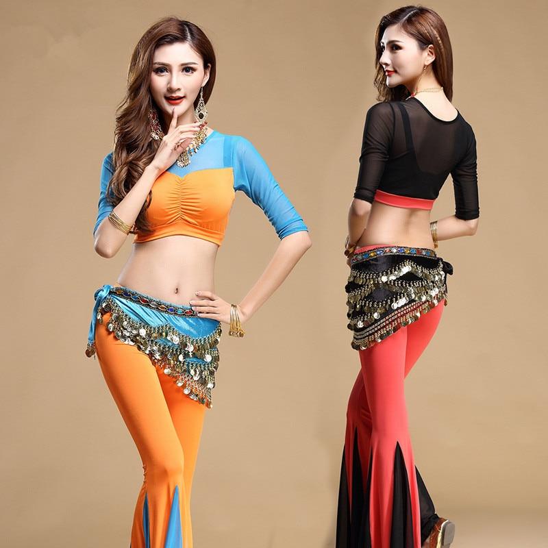 New Style Belly Dance Set Indian Dance Clothes Bellydance Costume 3pcs Top&Pants&Belt 4 Colors