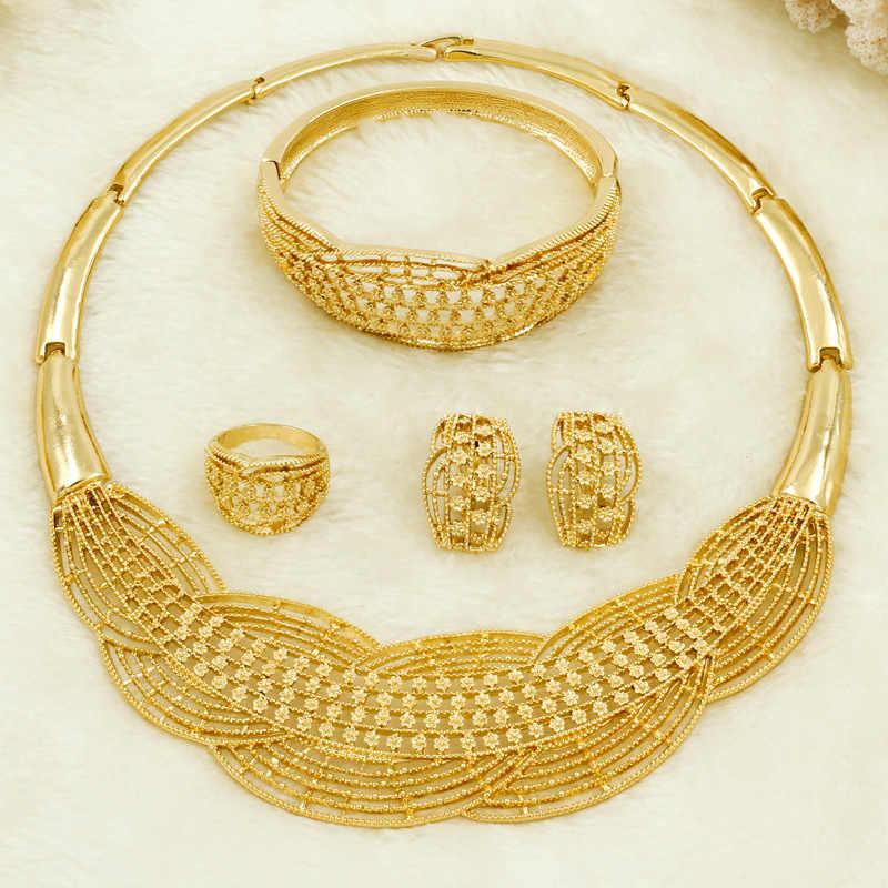 סיטונאי חדש אפריקאי תורכי נשים תכשיטי סטי חיטה קסם אופנה כלה חתונה שרשרת זהב תכשיטי סטי אריזת מתנה