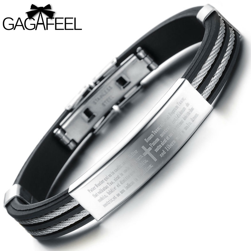 laser a net silicone engraving lettering gagafeel adjustable cross titanium steel god bracelets pulseras men toctai bless u bangles