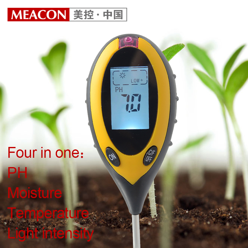 4 In 1 Soil PH meter Temperature Moisture Light intensity tester Backlit digital display For Agriculture Free Shipping  цены