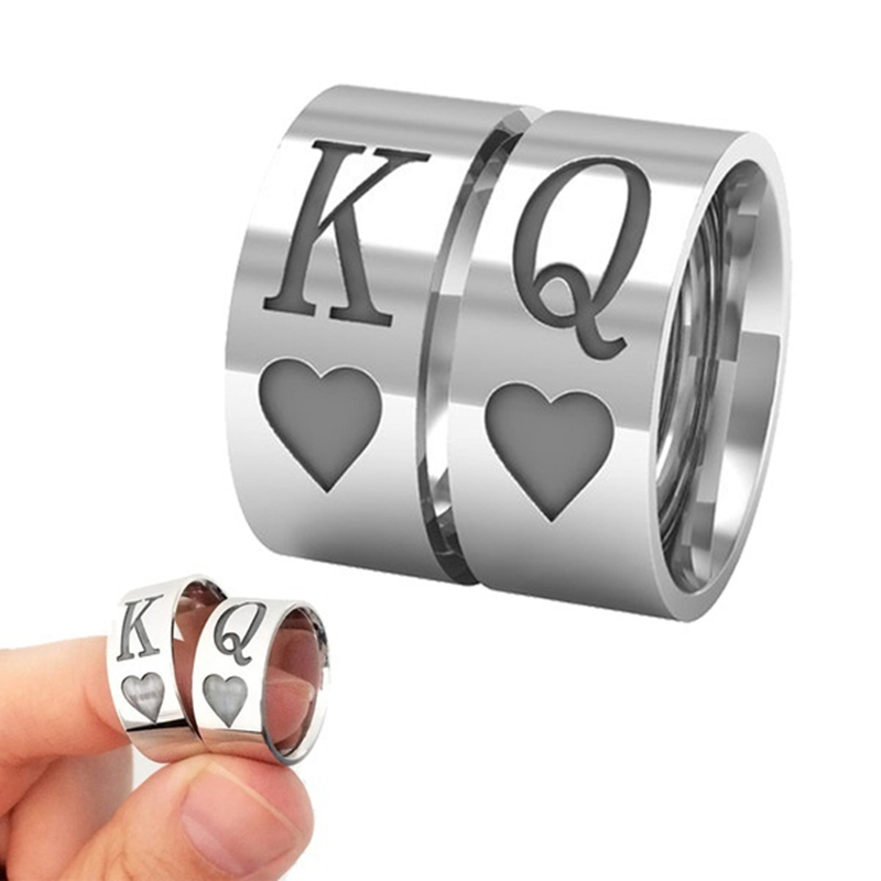 Titanium Steel Round Classic Cool Unisex Jewelry Chunky Black Enamel Spades Poker Q K Ring Men Women Silver-color