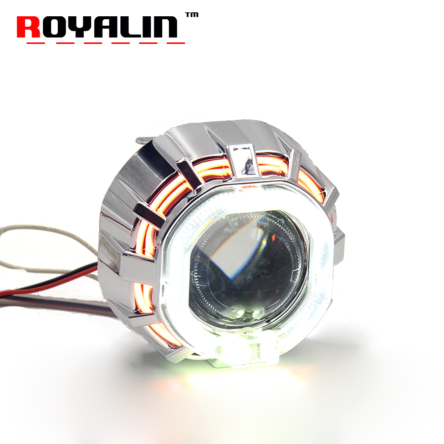 royalin led drl double angel eyes halo rings mini projector lens bi xenon h1 headlight shrouds white red h4 h7 auto lamps diy ROYALIN Motorcycle Bi Xenon Lens H1 Projector Headlights w/ CCFL Halo Rings LED Angel Eyes White Red Blue Yellow for H4 H7 Moto