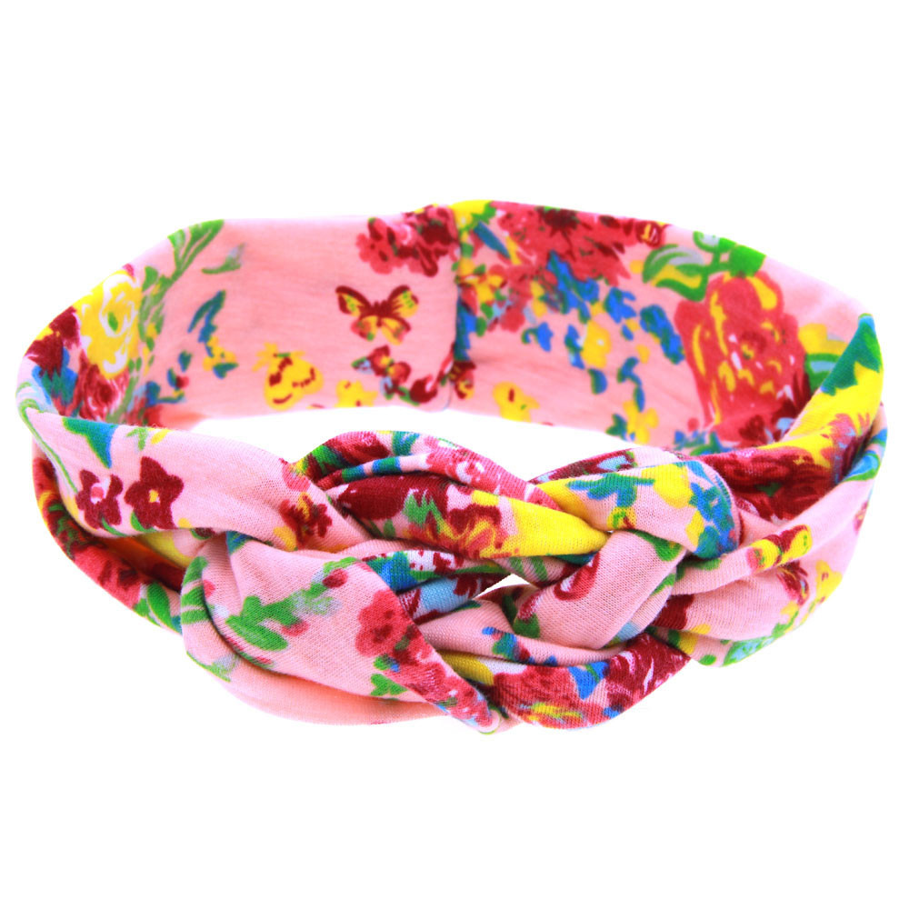 Bright color headband elastic cotton Peony Printing Intersect Cloth Headband kids hair a ...