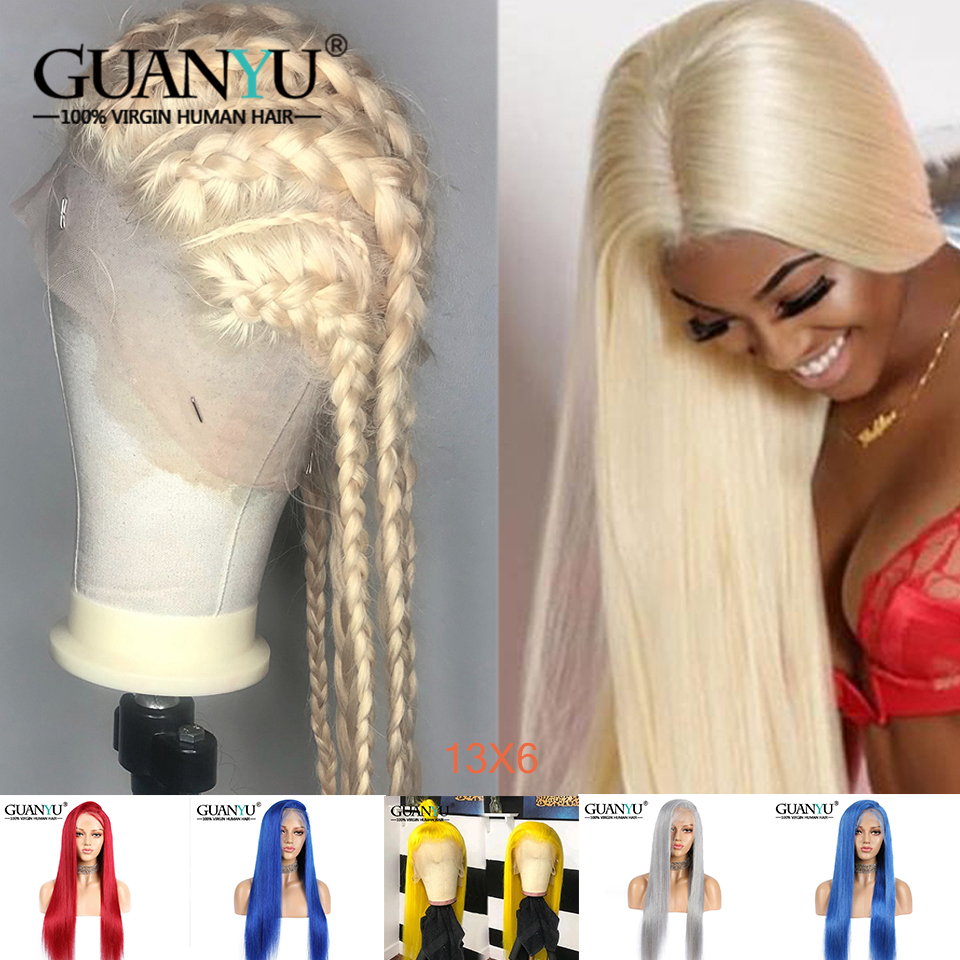13X6 Blonde Lace Front Wig Human Hair Preplucked Brazilian Remy Hair Pink Red Blue Grey 613 Honey Blonde Wigs For Black Women