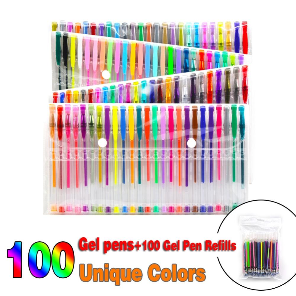 48 100 Colors Gel Pens Set Ink Pen For Adult Coloring Books Art Markers