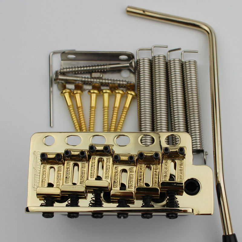 Wilkinson ST Electric Guitar Tremolo System Bridge + Bent Steel Saddles+Brass Block WV6 Gold new style custom sg electric guitar 3 pickups gold hardware sg electric guitar with gold tremolo system free shipping