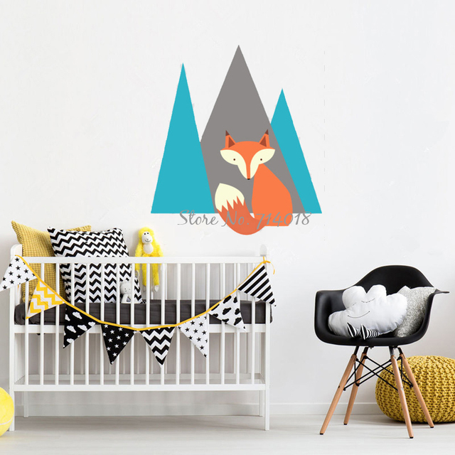 cute fox 3d wall stickers mountain animals wall decal kids room