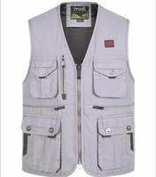 Reporter Photographer Vest Men's Cotton Multi Pocket Vest outdoor hiking travel fishing Waistcoat Plus Size Sleeveless Jacket