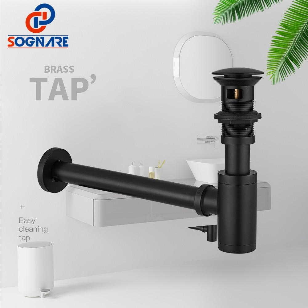 SOGNARE черный матовый круглый сифон 100% 25 латунь P-TRAP стена ванная туалетный столик умывальник труба слив и вытяжка вверх слив с% 2FБез перелив