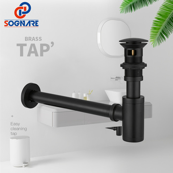 SOGNARE Black Matte Round Siphon 100% Brass P-TRAP Wall Bathroom Vanity Basin Pipe Waste and Pop Up Drain With/Without Overflow