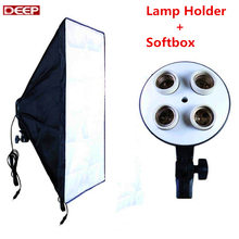 Cheapest prices Photography Lighting E27 4 Socket Lamp Holder diffuser + 50*70CM Softbox Photographic Equipmet Digital Photo Video Lighting Kit