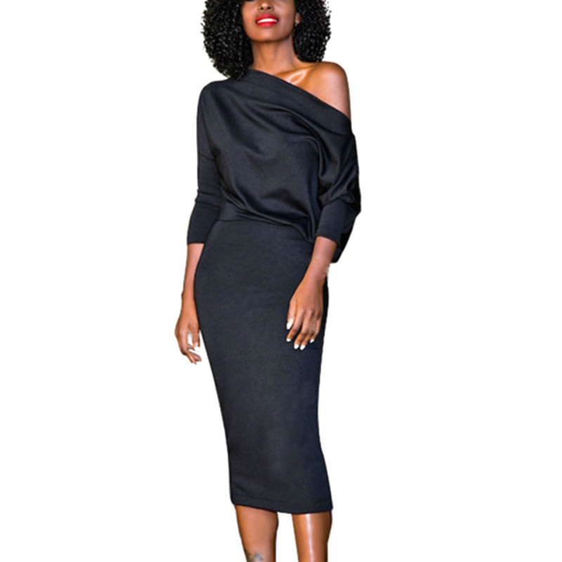 2017 Autumn Women Simple Dress Occident Strapless Bat Sleeves Sheath Slash Neck Solid High Waist Female Dresses Vestidos