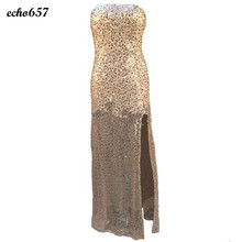 Frauen dress echo657 fashion lady sleeveless sexy brautjungfer langes abschlussball-ball goldpaillette cocktail party dress jan 11