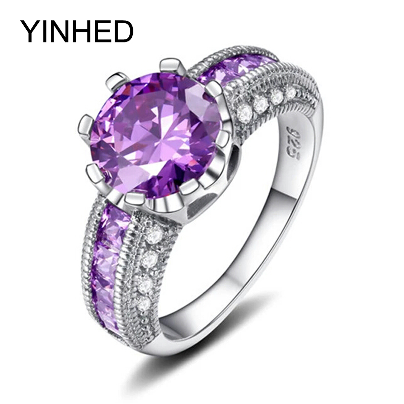 yinhed luxury solid 925 sterling silver engagement ring purple cubic zirconia - Purple Wedding Rings