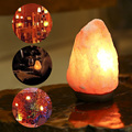 Himalayan Glow Hand Carved Natural Crystal Himalayan Salt Lamp With Genuine Neem Wood Base, Bulb And Dimmer Control