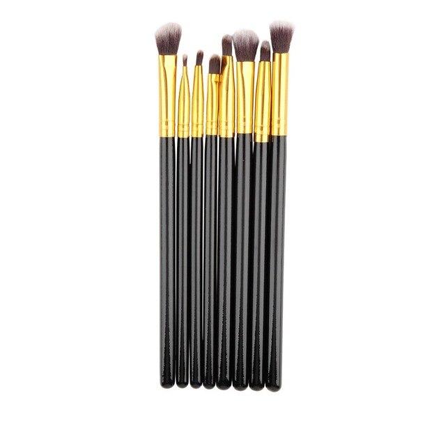8 unids/lote maquillaje profesional pinceles Set Blending polvo sombra en ángulo floración Eyeliner maquillaje cepillo negro y oro