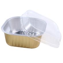 8 шт 300 мл одноразовая квадратная алюминиевая коробка для ланча пищевые закуски упаковочные контейнеры коробки с пластиковыми крышками для путешествий и пикника
