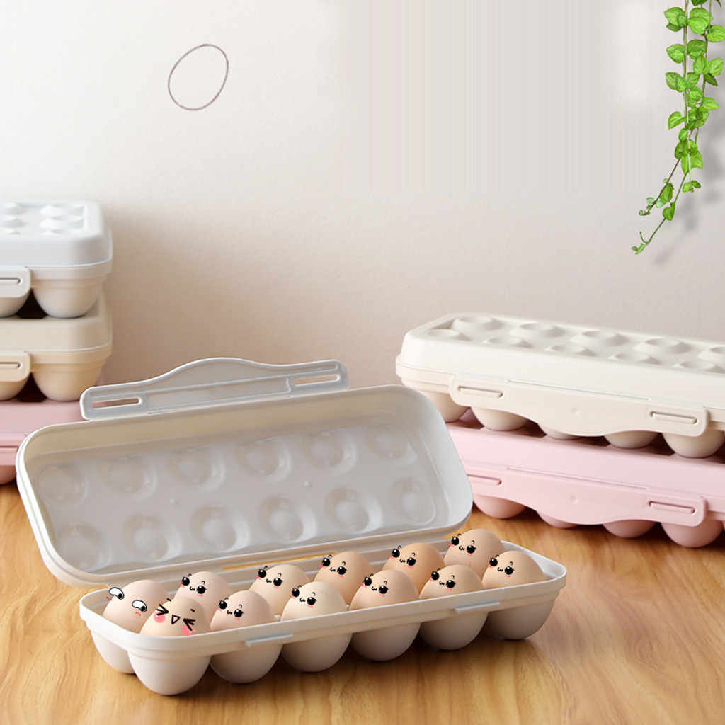 Egg Tray Holder Egg Storage Box Refrigerator Crisper Storage Container High Quality 2019 Plastic Sealed Cans Kitchen Organizer