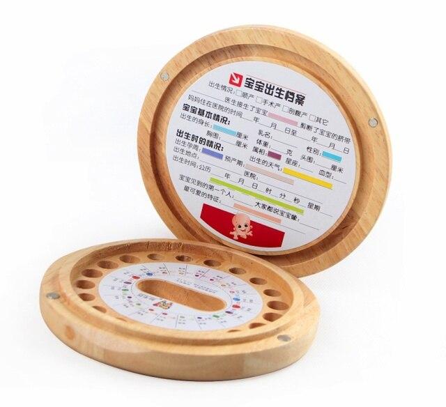 Diente de leche con horóscopo imagen dientes de leche / Foetal caja de almacenamiento de cabellos niños de recuerdos de dientes de madera organizador