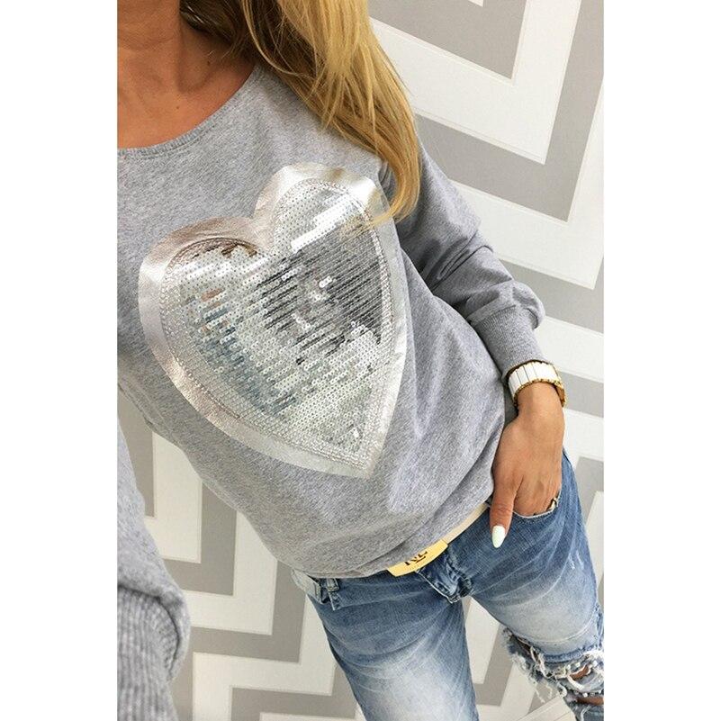 мода 2017 г. осень футболка женские сердца блесток топ круглый воротник в форме сердца тонкий длинные рукава женские футболки топы женские футболки футболка