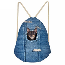 Cute 3D Animal Pocket Denim Chihuahua Dog Print Girls Boys Drawstrings Bags Casual Children Schoolbags Soft BackpackSumka