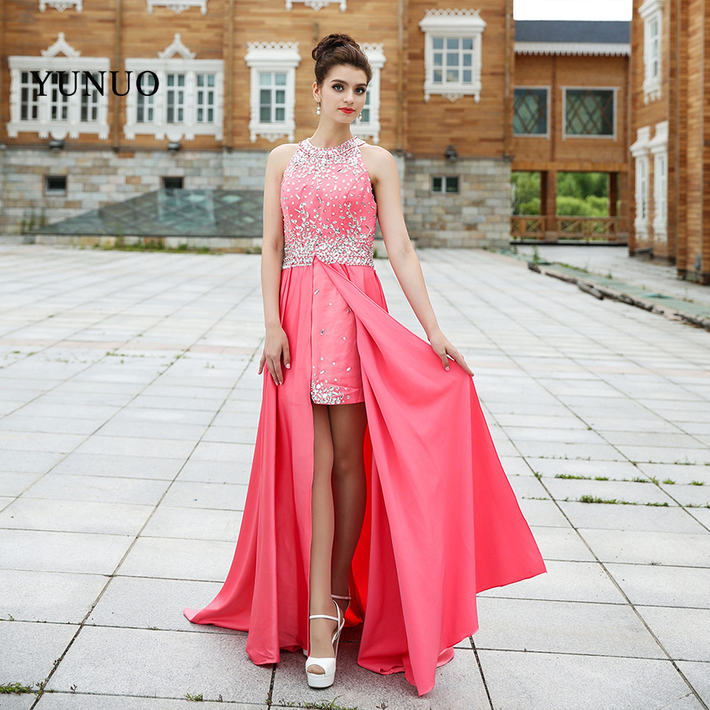 1ed20acc6e1 Unique Prom Dresses 2018 Sexy Beading Halter Sleeveless Chiffon Modest  Train Long Prom Party Gowns Hot Sale Formal Evening Dress