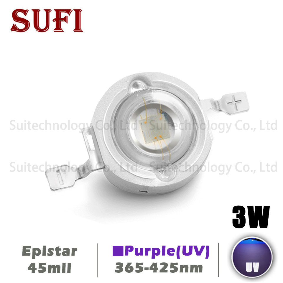 <font><b>UV</b></font> Purple <font><b>LED</b></font> Ultraviolet Bulbs Lamp Chips 365nm 370nm 375nm 385nm 395nm 400nm 405nm 425nm <font><b>3W</b></font> High Power Diodes COB Light Beads image