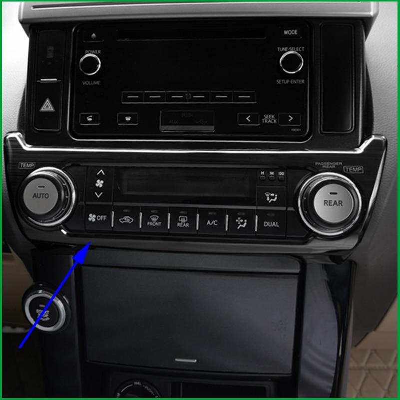 Car Styling FOR TOYOTA Land Cruiser Prado 2010-2017 Interior AC AIR Condtioner SWITCH CONTROL PANEL COVER STICKER TRIM MOLDING