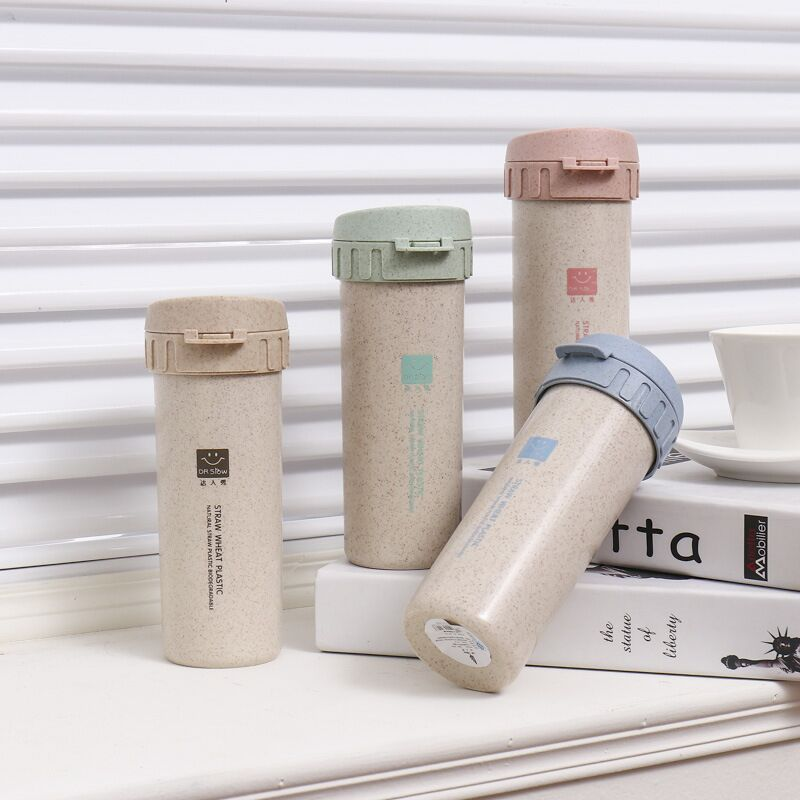 300ml Nature Straw Fiber Plastic Water Bottle With Rotary Lid Eco-Friendly Double Layer Drink Bottle for travel home office