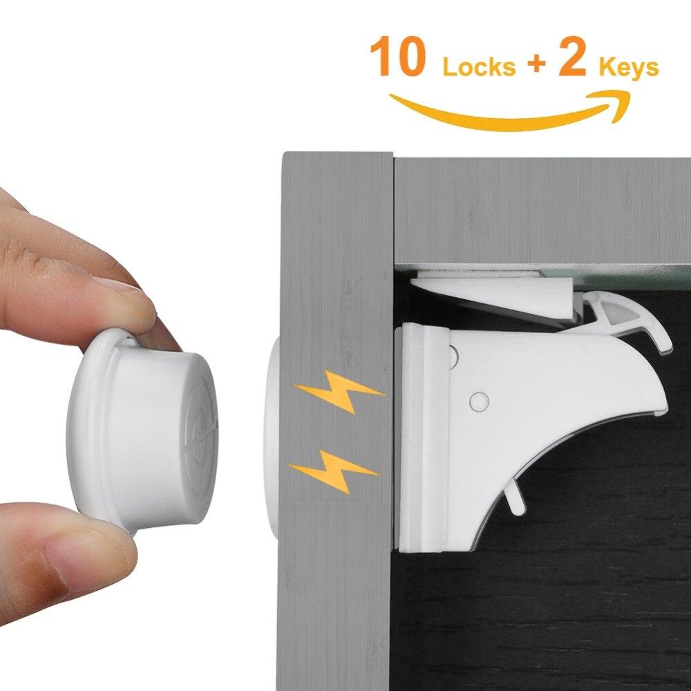 10 Schlösser 2 Tasten Baby Sicherheit Magnetische Schlösser Set Kind Kinder Schutz Schrank Tür Schublade Locker Sicherheit Schrank Kindersicherung