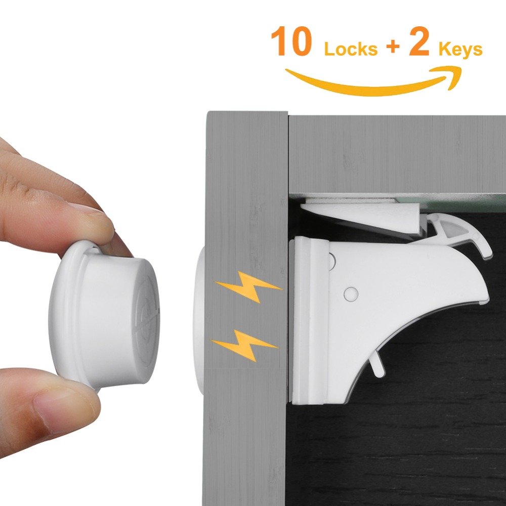 10Locks 2 keys Baby Safety Magnetic Locks Set Child Kids Protection Cabinet Door Drawer Locker Security Cupboard Childproof Lock