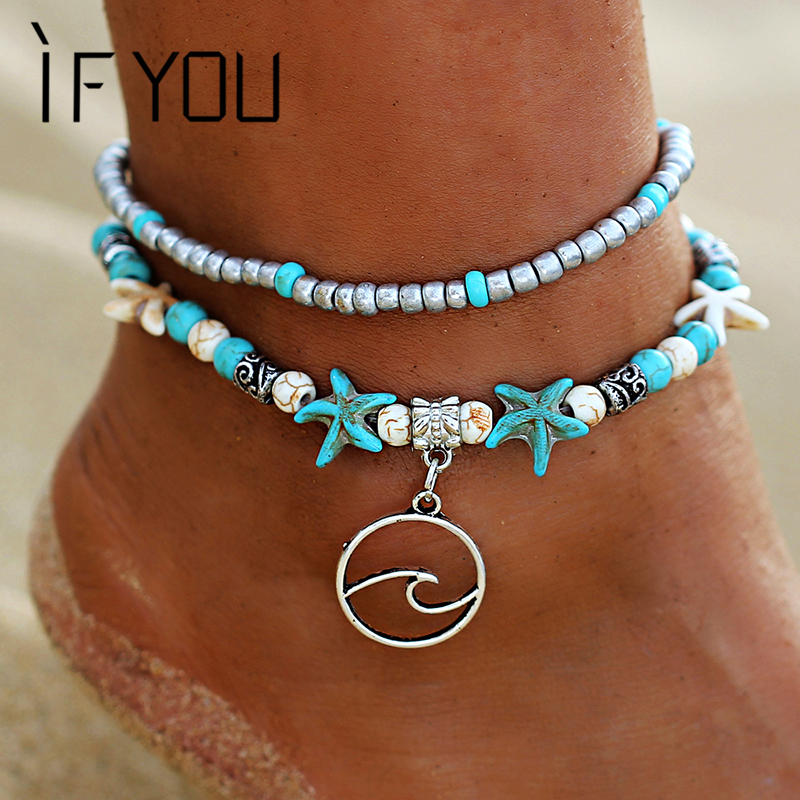 IF YOU Bohemia Waves Starfish Foot Anklets Bracelet for Leg For Ladies Women Boho Fashion Summer Beach Men Anklet Jewelry New