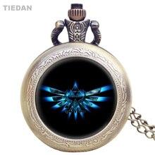 TIEDAN Dropshipping Legenden om Zelda Retro Fickur för män Kvinnor Gåvor med Halsband Antika Små Fob Quartz Klockor