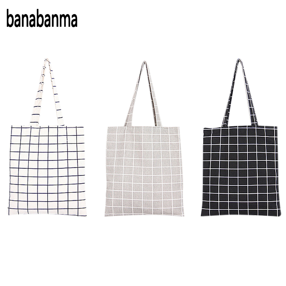 Banabanma Women Student Cotton Linen Fashion Plaid Shoulder Tote Handbag Eco Shopping Large Capacity Canvas Purse Pouch ZK25