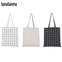 Banabanma Women Student Cotton Linen Fashion Plaid Shoulder Tote Handbag Eco Shopping Large Capacity Canvas Purse Pouch ZK25(China)