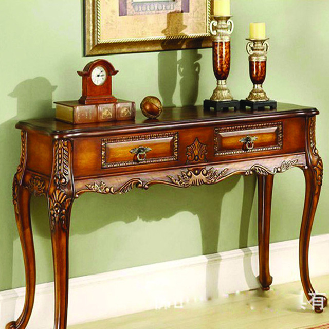 European Antique Wood Console Table Neoclassical Entrance Foyer Entrance  Station Off Hotel Furniture