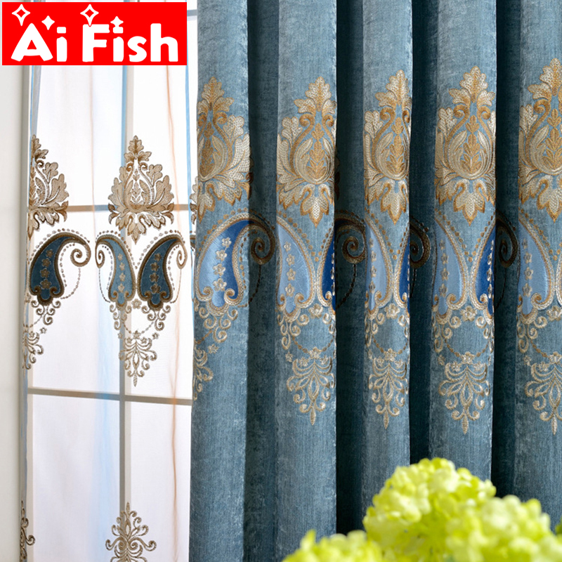 Luxury Curtains Tulle For Living Room European Blue Chenille Embroidery Velvet Curtains Tulle Bedroom Decorate Panel AP019-30