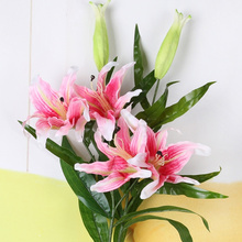 Erxiaobao 1 Piece PU Real Touch Purple Pink Lily Lilium Artificial Flowers Soft Wedding Home Decoration Indoor
