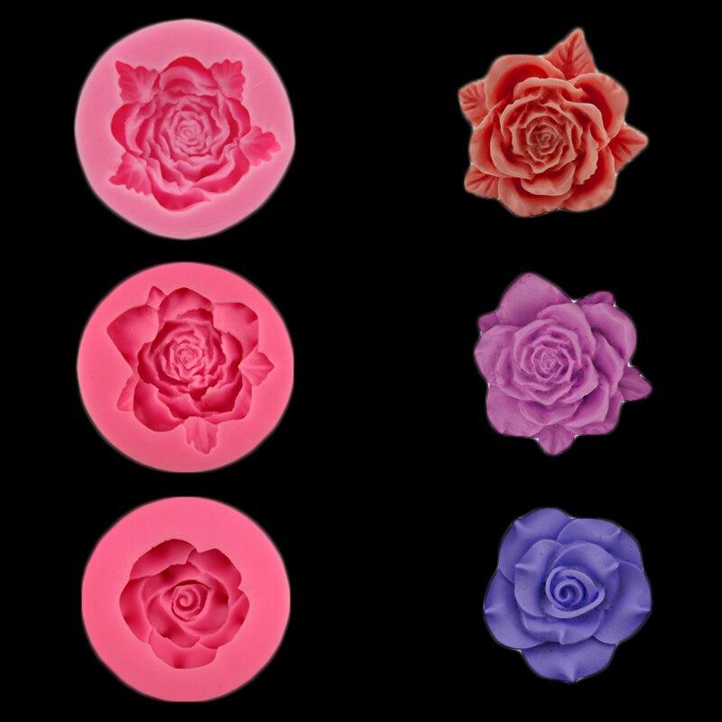 Diy Hornear Rose en forma de Molde de Silicona Torta Que Adorna el Sugarcraft, R